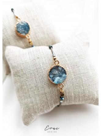 """Apyrankė su kristalizuotu agato akmeniu ,,Summer blue"""""""
