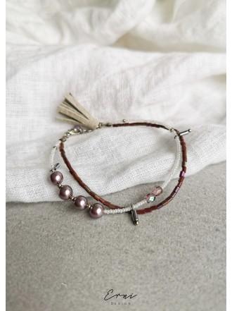Dviguba apyrankė su kriauklių perlais