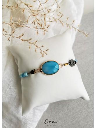 "Apyrankė su agato akmeniu ,,Mėlyna jūra"""