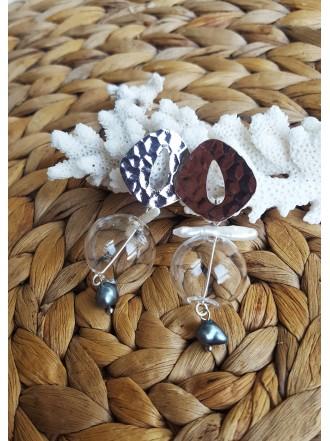 "Auskarai ,,Glass bubble silver"""