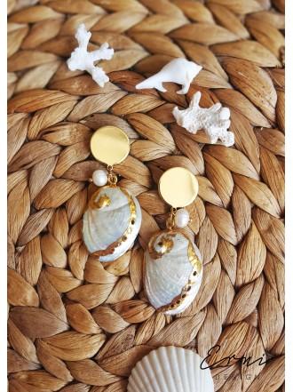 "Auskarai ,,Shell and pearls"""