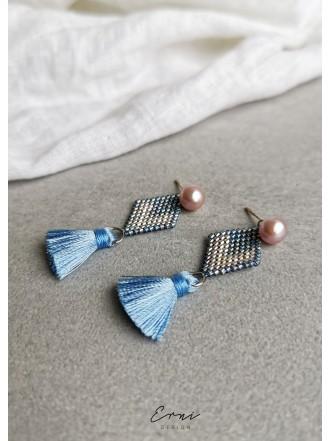 """Dvigubi auskarai su upiniais perlais ,,Blue summer"""""""