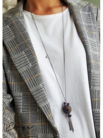 """Kaklo papuošalas su kristalizuotu agato akmeniu ,,Druzy purple"""""""