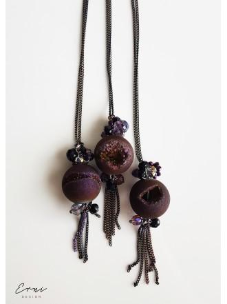 """Kaklo papuošalas su kristalizuoto agato akmeniu ,,Druzy dark purple"""""""