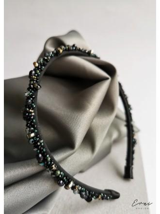 """Plaukų lankelis siuvinėtas perlais ,,Dark green"""""""