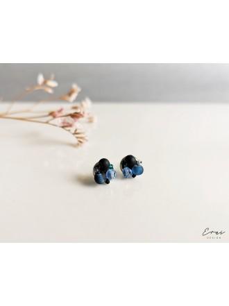 """Auskarai ,,Mini kristaliukai - DARK BLUE"""""""