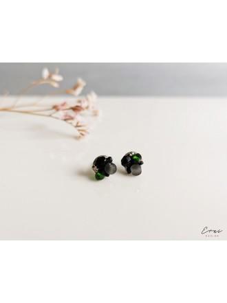 """Auskarai ,,Mini kristaliukai - DARK GREEN"""""""