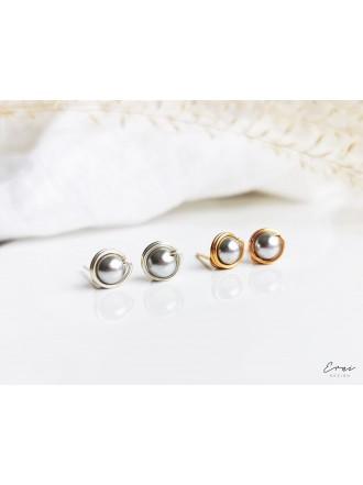 Auskarai su kriauklių perlais - GREY PEARL