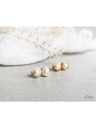 Auskarai su kriauklių perlais - WHITE SHELL PEARL
