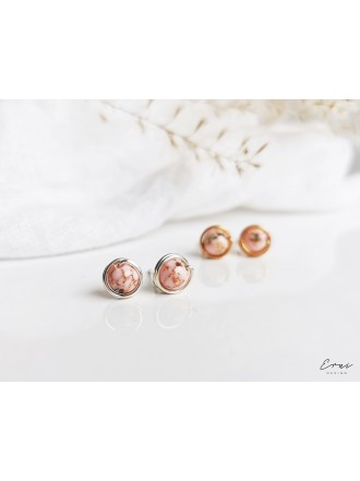 Auskarai su kriauklių akmenukais - PINK SHELL