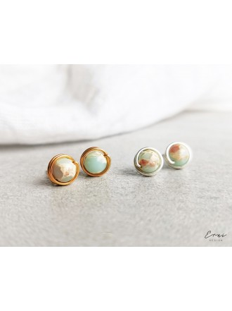 Auskarai su jaspio akmenukais - MINT