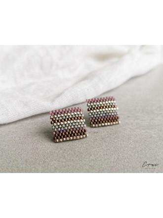 "Auskarai ,,Pink beads square"""