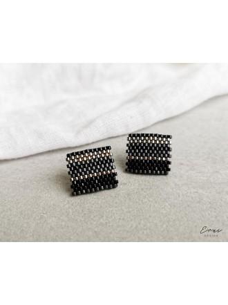 "Auskarai ,,Black beads square"""