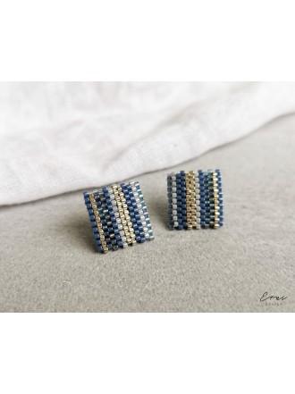 "Auskarai ,,Blue beads square"""
