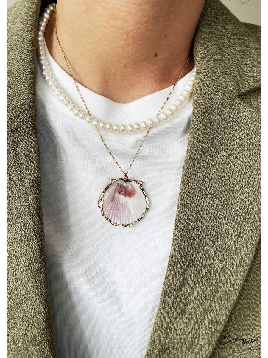 """Dviejų dalių kaklo papuošalas su perlais ir kriaukle ,,Zoelle"""""""
