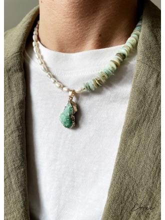 """Kaklo papuošalas su kristalizuoto agato akmeniu ,,Green"""""""