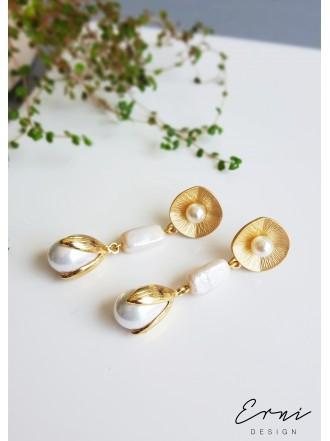 """Auskarai ,,Golden pearls"""""""