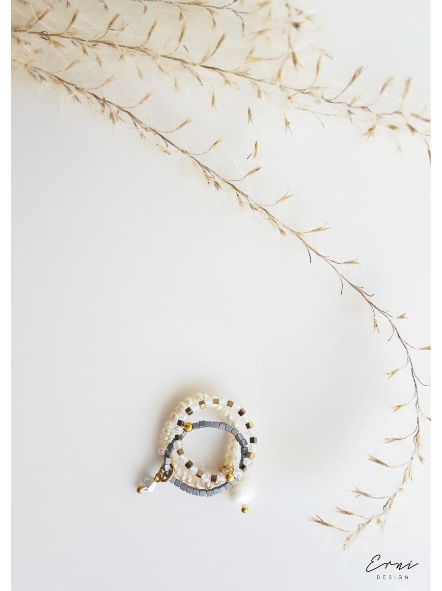 """Žiedas su hematitu ir kalnų krištolu ,,Smiltė"""""""