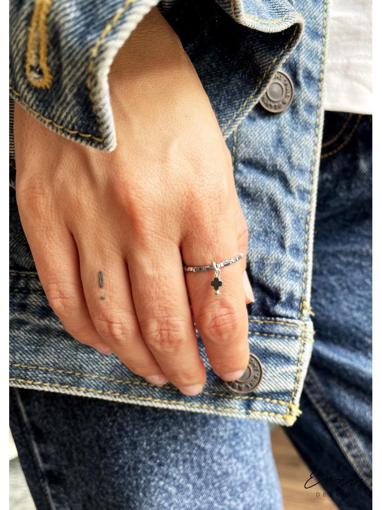 """Žiedas su hematito akmenukais ,,Hanna"""""""